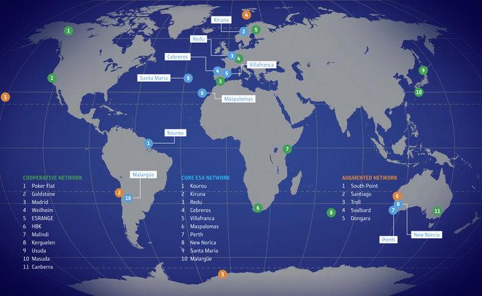 Mapa de la red de estaciones de la Agencia Espacial Europea (ESA)